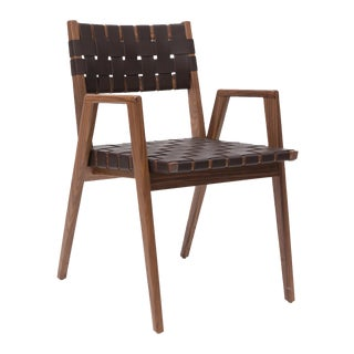 Solid woven leather and walnut dining chair with arms by Mel Smilow