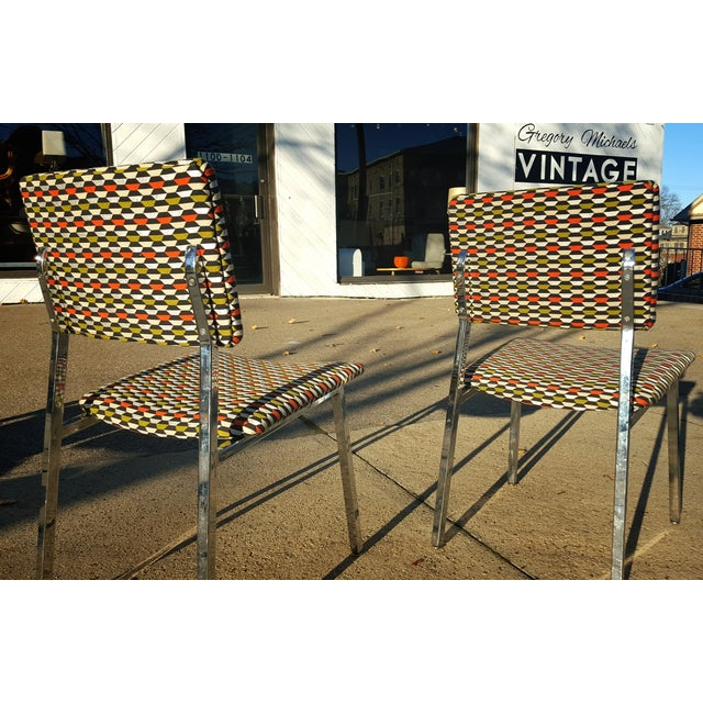 Image of Mid-Century Chrome Frame Accent Chairs - A Pair