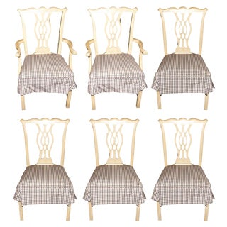 Rustic Chippendale Dining Chairs - Set of 6