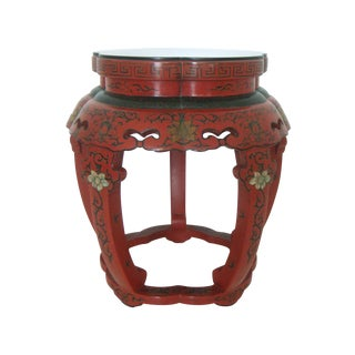 Deep Red Lacquer 'Bamboo' Stool/Side Table