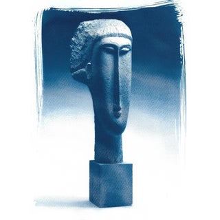 Modigliani Bust Head of a Woman Sculpture, Cyanotype Print on Watercolor Paper