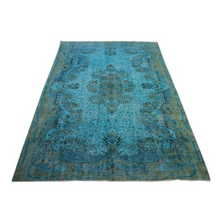 "Turquoise Colour Turkish Overdyed Rug - 6'2"" X 9'11"""
