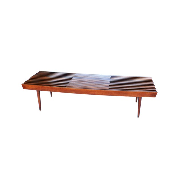 Nelson Herman Miller Style Slatted Wood Bench - Image 1 of 7