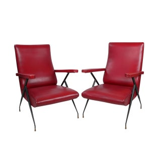 Vintage Italian Red Reclining Chairs - A Pair
