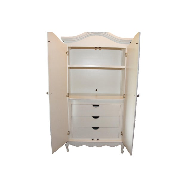 french style cane white armoire by art for kids chairish. Black Bedroom Furniture Sets. Home Design Ideas