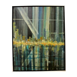 Brutalist Abstract Cityscape Painting