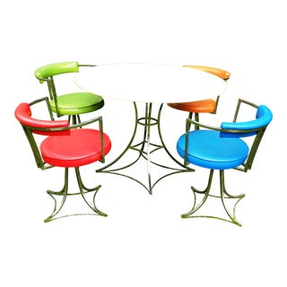 Vintage Antarenni Chrome & Vinyl Dinning Room Set - Set of 5