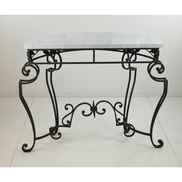 Black marble demilune console table chairish White demilune console table