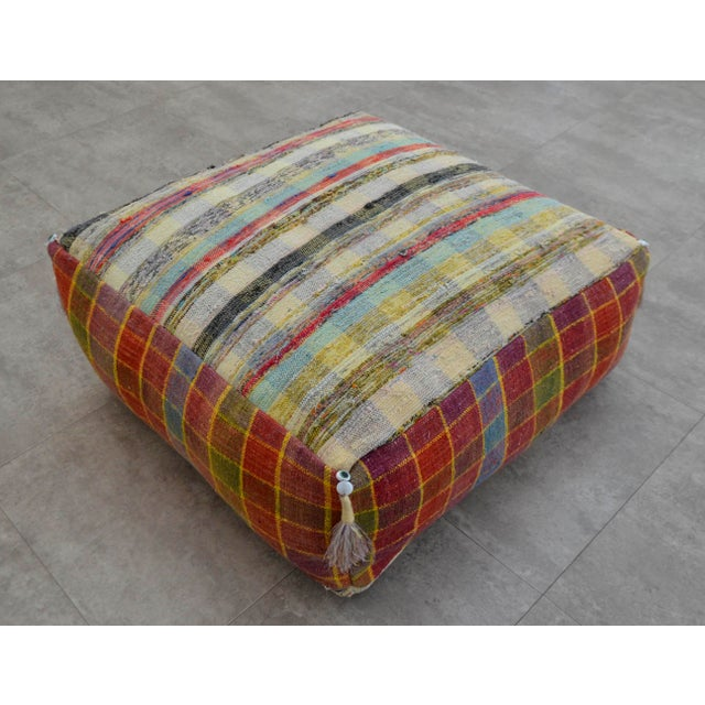 Turkish Hand Woven Kilim Floor Pillow - Image 2 of 9