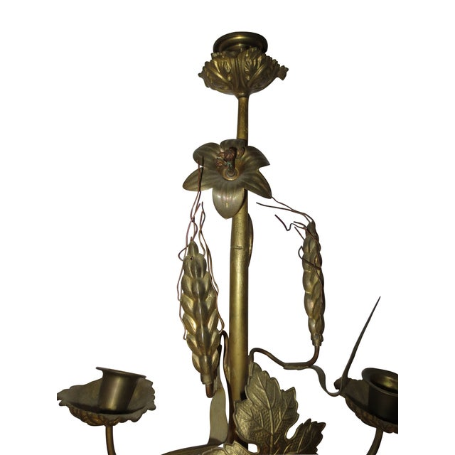 Tall Brass Floral Candleholder - Image 5 of 8