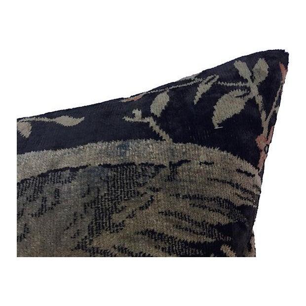 Antique Velvet Floral Textile Pillow W/ Parrot - Image 5 of 6