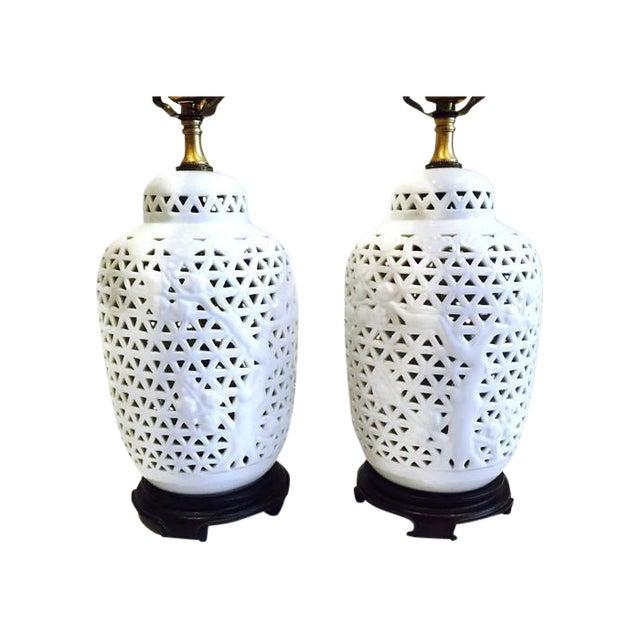 Vintage Pierced Porcelain Ginger Jar Lamps - Image 1 of 10