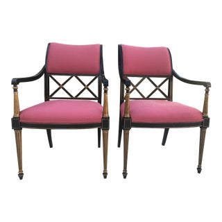 Dorothy Draper by Henredon Pink Regency Chairs - A Pair