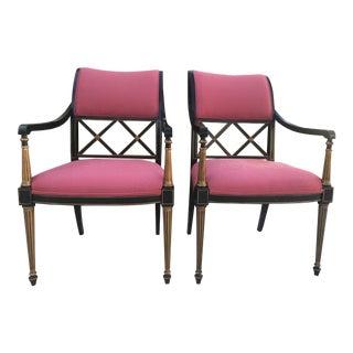 Dorothy Draper by Henredon Pink Regency Chairs - A Pair