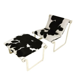 Forsyth One of a Kind Morrison & Hannah for Knoll Chair & Ottoman Restored in Black & White Brazilian Cowhide