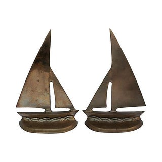 Brass Sailboat Bookends - Pair
