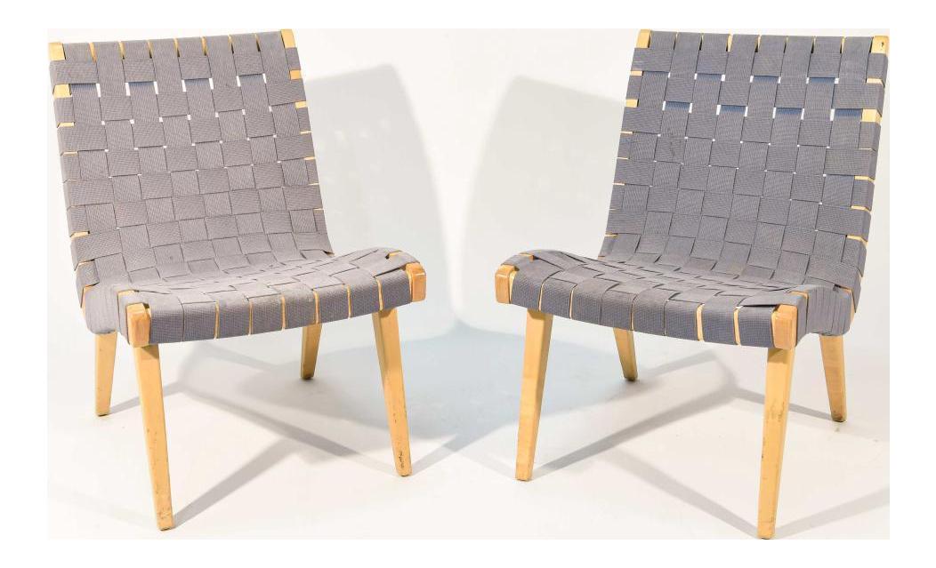 Jens Risom Maple U0026 Gray Webbing Lounge Chairs  A Pair
