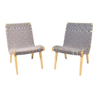 Jens Risom Maple & Gray Webbing Lounge Chairs- A Pair
