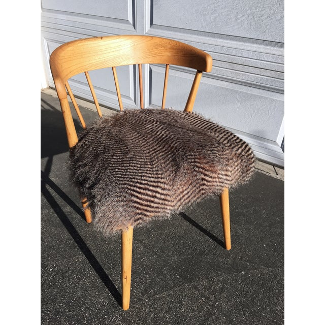 Mid Century Modern Quail Fur Spindle Chair - Image 2 of 5