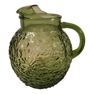 Mid-Century Modern Green Glass Round Pitcher
