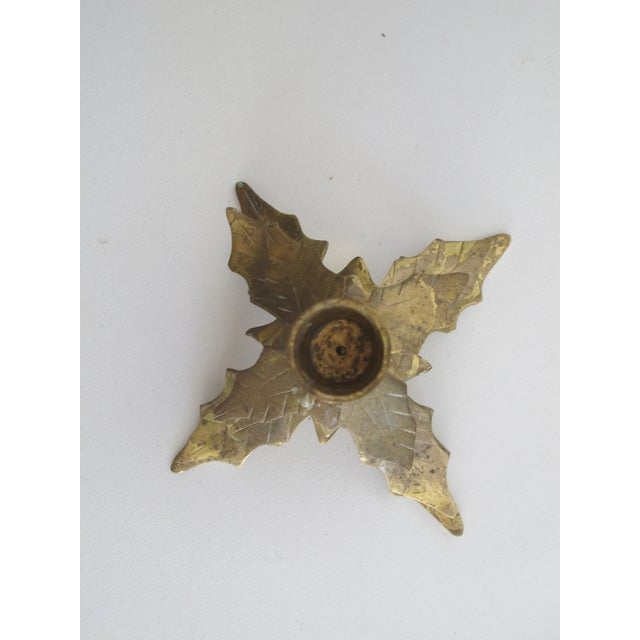 Brass Holly Leaf Candleholders - A Pair - Image 4 of 6