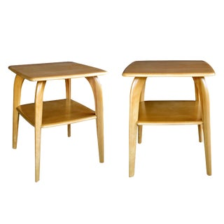 Pair of American Mid-Century Solid Maple Tables Stamped 'Heywood Wakefield'