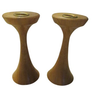 Walnut & Brass Myrtle Wood Candle Sticks - A Pair