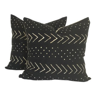 Vintage African Black Mudcloth Pillows - A Pair