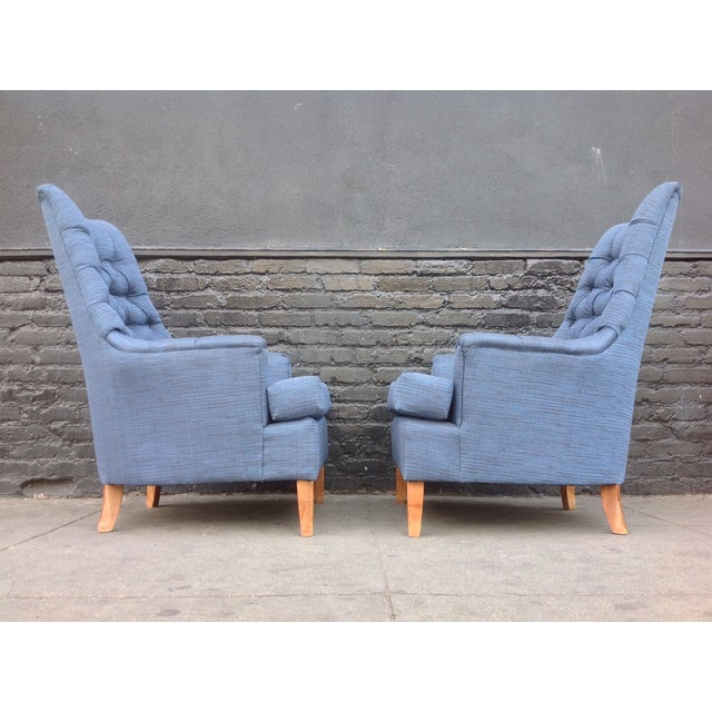 Mid-Century Tufted Blue Lounge Chairs - A Pair - Image 5 of 7