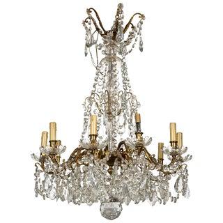 Georgian Style Bronze & Crystal Chandelier