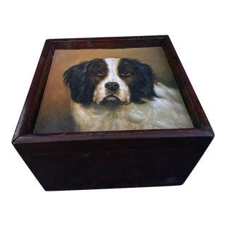 Antique Vanity Shaving Box W/ Dog Portrait