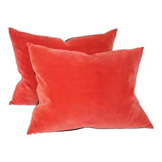 Orange Velvet Pillows- A Pair