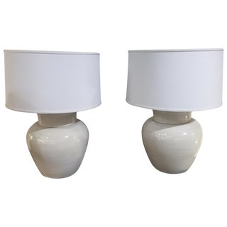 Large Mid-Century Ivory Ceramic Lamps - Pair