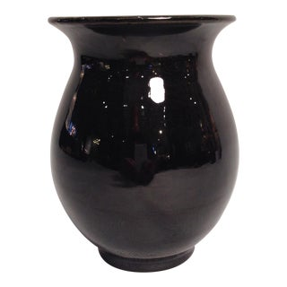 Black ceramic vase by Walter Gebauer