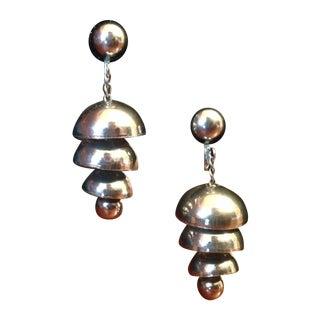 Art Deco Silver Bell Screw Back Earrings - A Pair