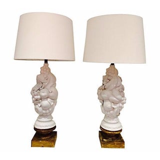 White Italian Fruit Topiary Lamps - A Pair