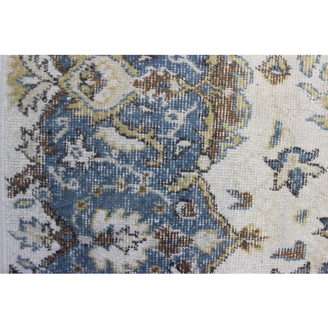 "Blue Cream Turkish Overdyed Rug - 6'1"" X 10' - Image 7 of 9"