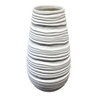White Ceramic Wavy Vase