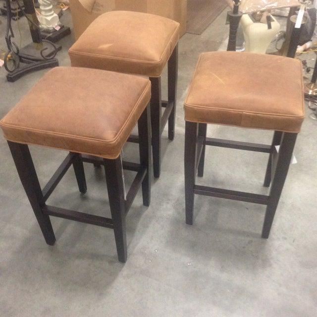 Richard Allen Leather & Wood Bar Stools - Set of 3 - Image 5 of 7
