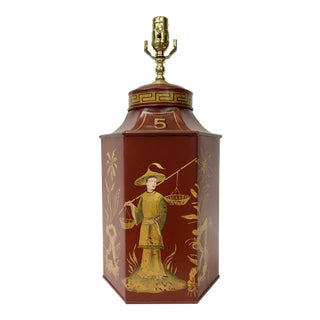 Red Chinoiserie Tea Caddy Lamp