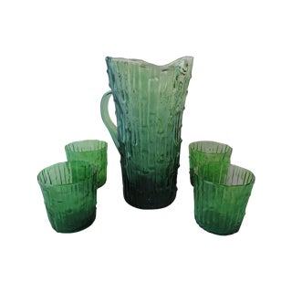 Imperial Bambu Verde Green Pitcher & Tumblers -S/5