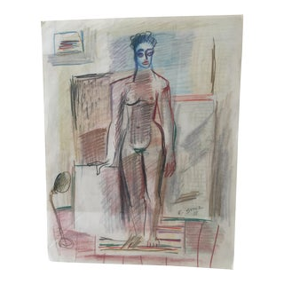 Modernist Color Pencil Drawing by Ernst Stole