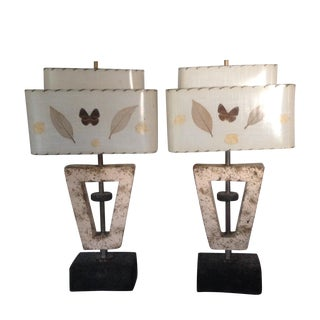 Deco Butterfly Cork Lamps - A Pair