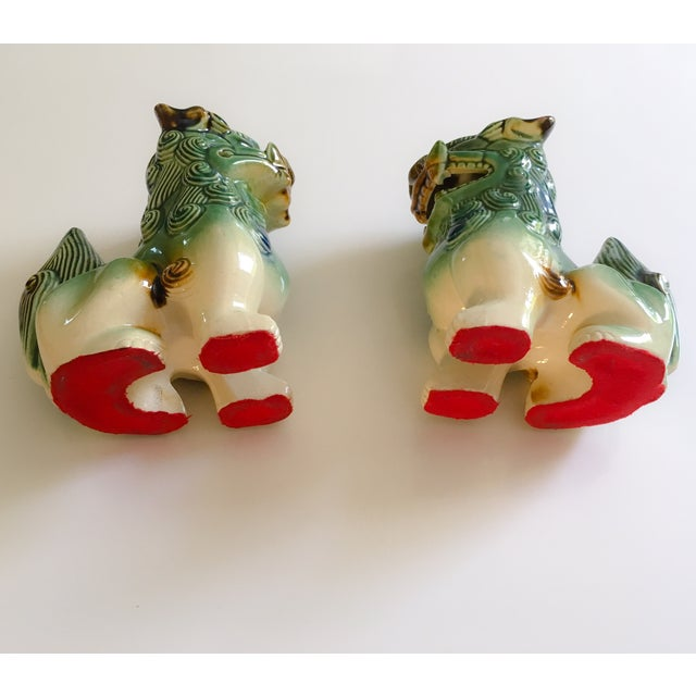 Image of Green Ceramic Foo Dogs - A Pair