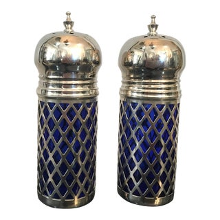 Cobalt Silver Salt & Pepper Shakers - A Pair