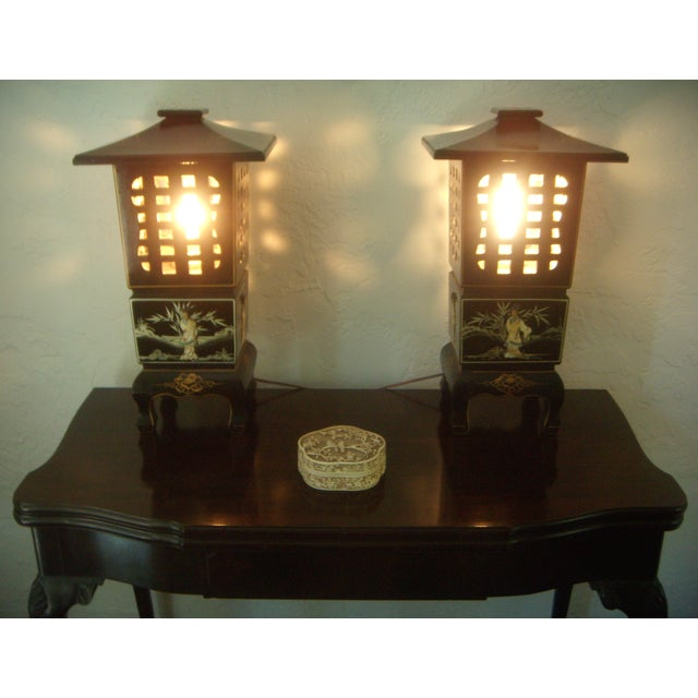 Vintage Lacquered Chinese Lanterns - Pair - Image 8 of 9