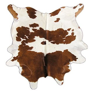 "Brown and White Cowhide - 5' 9"" x 7' 1"""