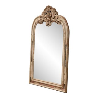 Early 19h Century French Régence Carved Painted and Gilt Mirror From Lyon