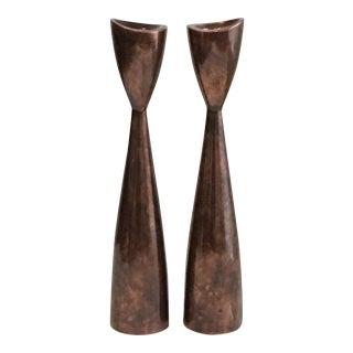 Nambe Danish Modern Style Copper Candlesticks - Pair