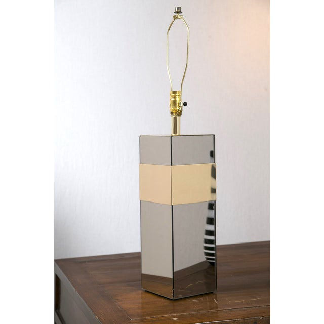 Image of Paul Evans Style Glass & Brass Table Lamp